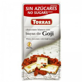 WHITE CHOCOLATE WITH GOJI BERRIES SUGAR FREE 75G TORRAS