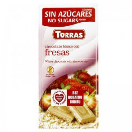 WHITE CHOCOLATE WITH STRAWBERRIES SUGAR FREE 75G TORRAS