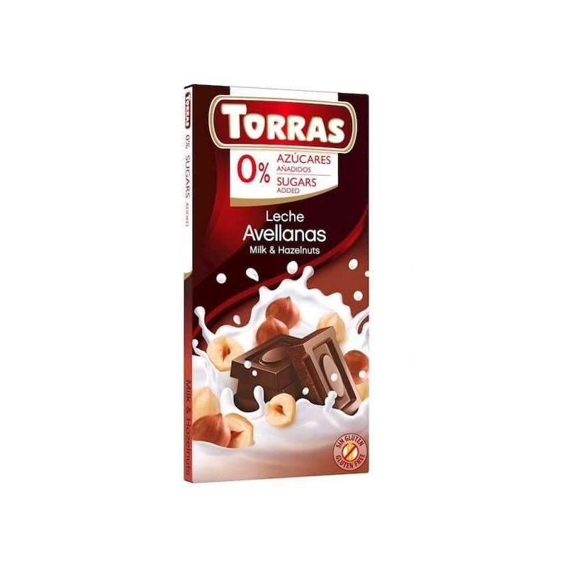 Milk Chocolate With Hazelnuts No Sugar 75g Torras
