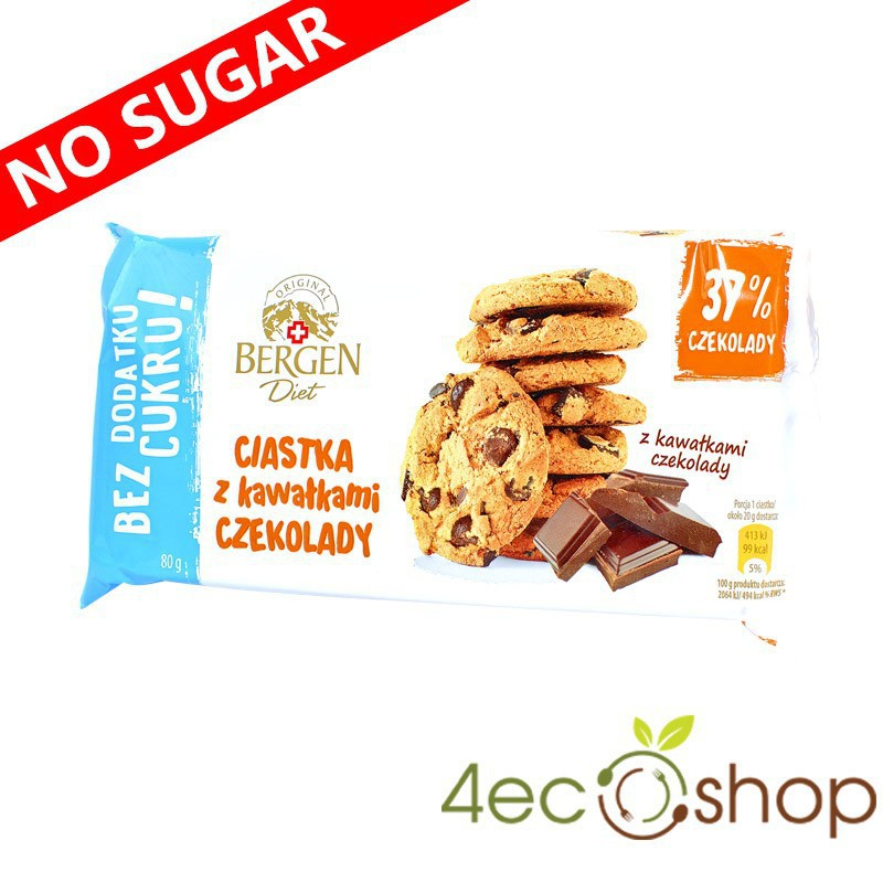 SUGAR FREE COOKIES CHOCOLATE CHIP 80G BERGEN