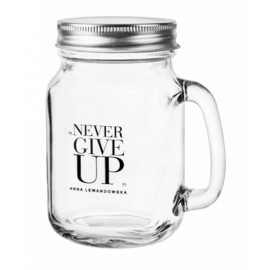 HANDLE JAR WITH LID 473 ML NEVER GIVE UP